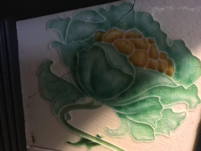 Rare Sweeping Rose Victorian Tiles Repaired