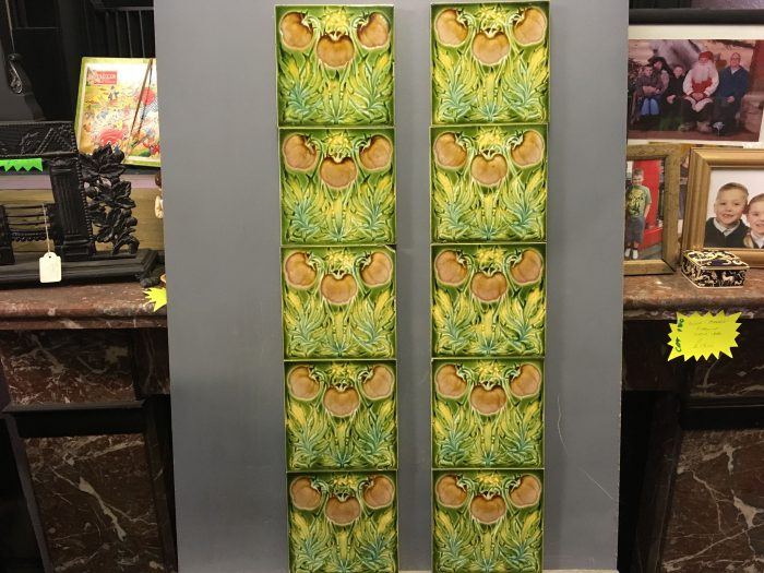 Art Nouveau Green Floral Tiles Full Set