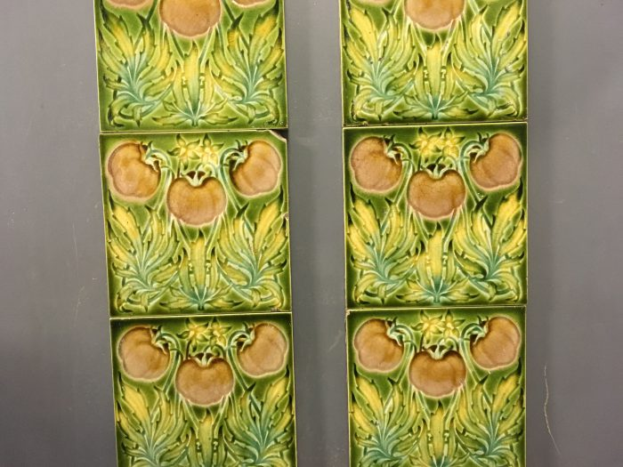 Art Nouveau Green Floral Tiles Close up