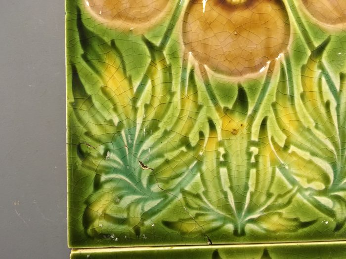 Art Nouveau Green Floral Tiles Repaired