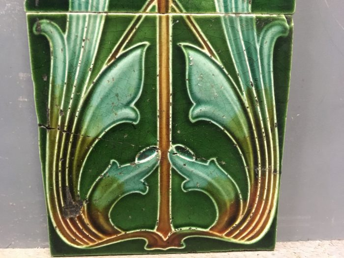 Art Nouveau Green & Yellow Tiles Close 2