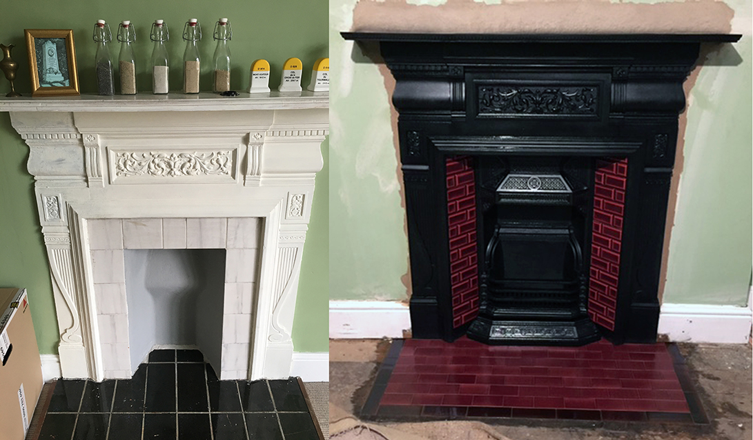 Fireplace Restoration Ward Antique, How To Clean Paint Off Cast Iron Fireplace